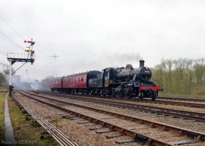 """""""An afternoon local at Swithland Sidings... British Railways Standard Class 2 78018 works a two-coach train of suburban coaches towards Quorn & Woodhouse."""" - Photo © GCR/AJM."""