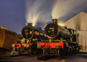"""""""Winter Steam Gala visitors of LNER and GWR designs... K1 62005 and Hall 4953 'Pitchford Hall' stand on shed at Loughborough, one year ago in January 2020."""" - Photo © Joe Connell."""