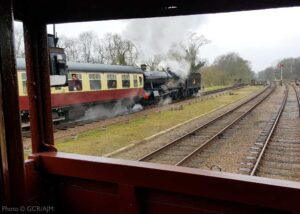 """""""View from the brake van... While a goods train waits in the Up Loop at Swithland Sidings for another train to pass, 4953 'Pitchford Hall' steams past in the opposite direction on the Down Main during our Winter Steam Gala in 2020."""" - Photo © GCR/AJM."""