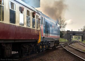"""""""A modern-era departure from Loughborough Central...<br /> BR Class 50 50017 'Royal Oak', appearing in Network SouthEast livery, accelerates away from the station during April 2019"""". - Photo © Steven Havers."""
